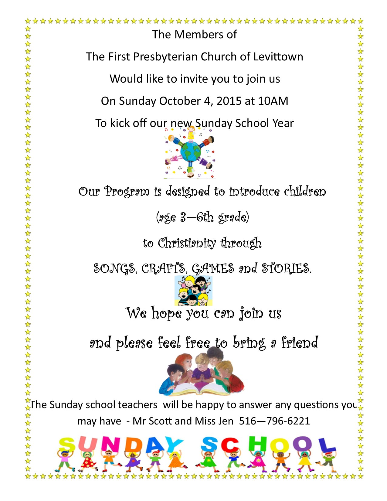 Sunday School Kick Off, Sunday, October 4th. at 10:00a.m ...