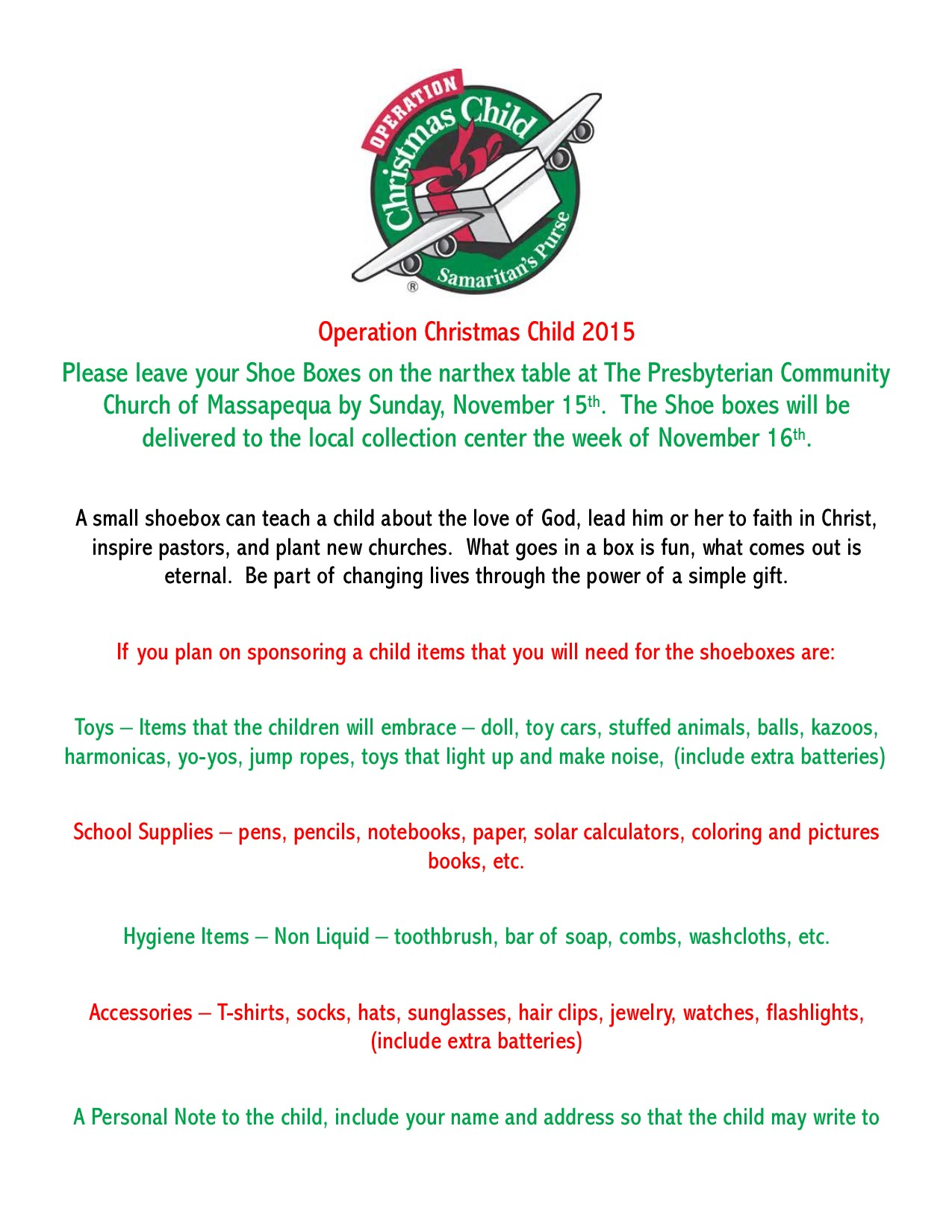 Operation Christmas Child | FIRST PRESBYTERIAN CHURCH, LEVITTOWN, NY
