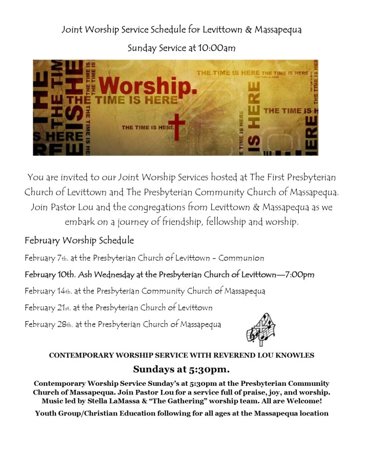 Worship Schedule February