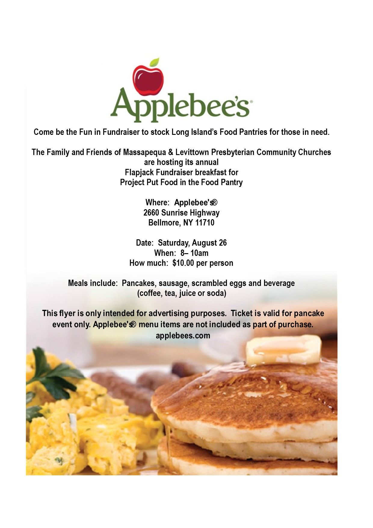 Saturday August 26 at 8am Join us for a Flapjack Fundraiser