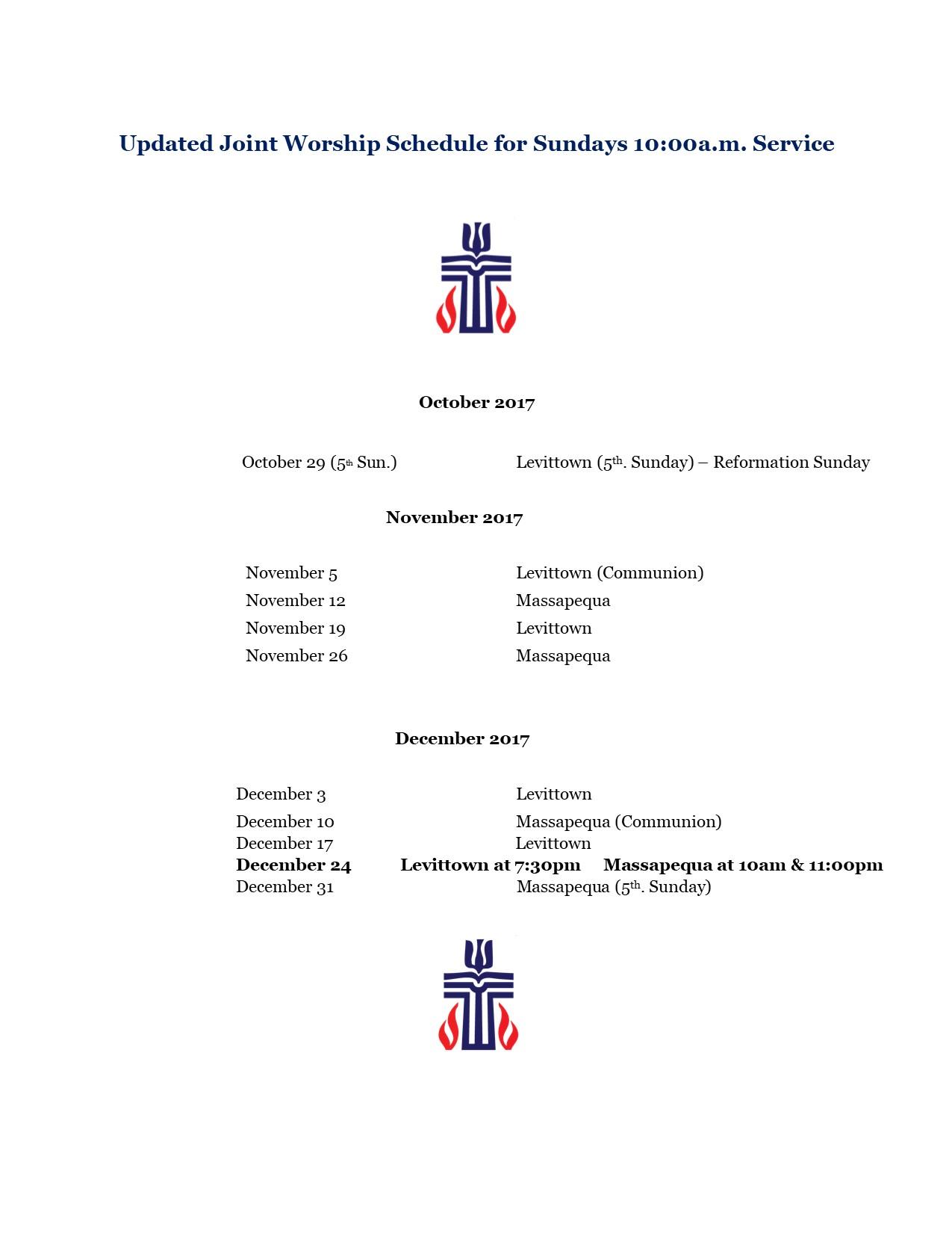 Worship Schedule for November - December 2017.pub