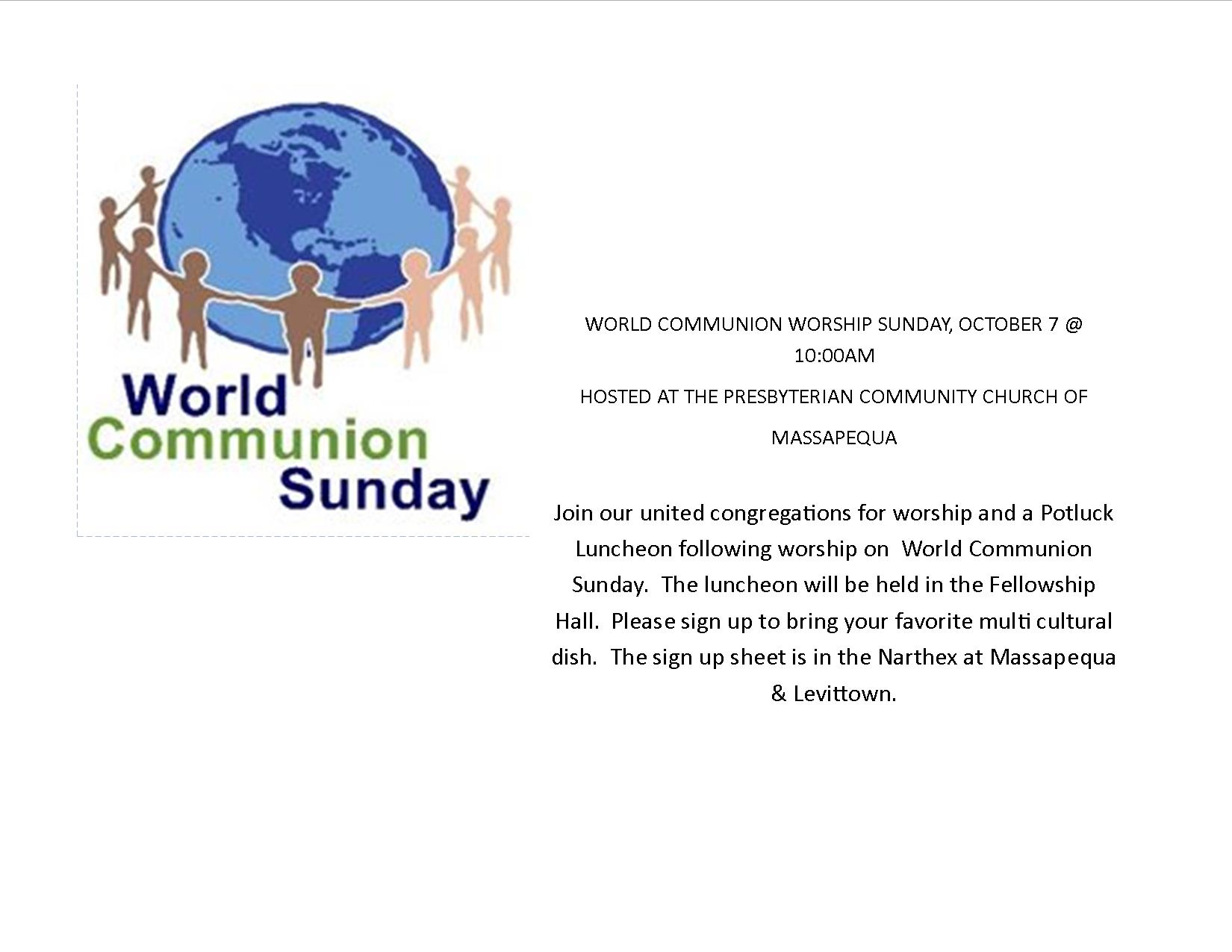 World Communion Sunday - October 7