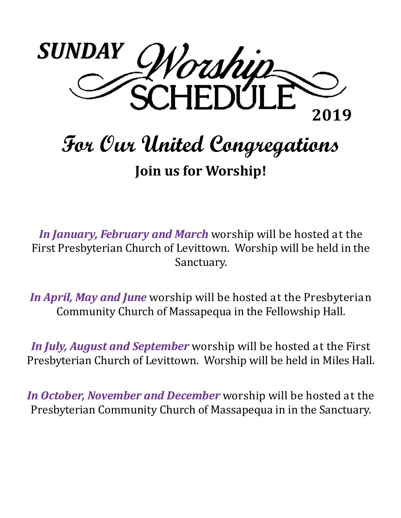2019 Worship Schedule